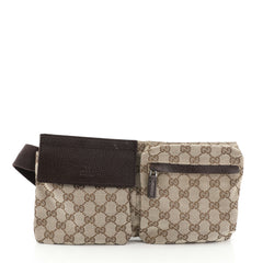 Gucci Vintage Double Belt Bag GG Canvas
