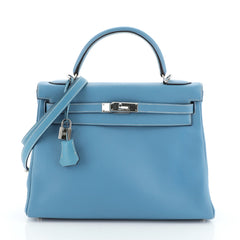 Hermes Kelly Handbag Blue Clemence with Palladium Hardware 32