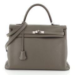 Hermes Kelly Handbag Grey Clemence with Palladium Hardware 35