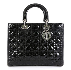Christian Dior Lady Dior Handbag Cannage Quilt Patent Large