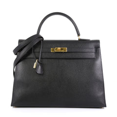 Hermes Kelly Handbag Black Ardennes with Gold Hardware 35