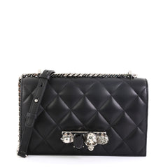 Alexander McQueen Jewelled Flap Satchel Quilted Leather Medium