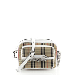 Burberry Link Camera Bag Horseferry Check Canvas and Leather Small
