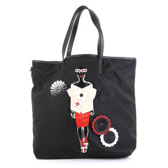 Prada Open Tote Tessuto with Applique Large