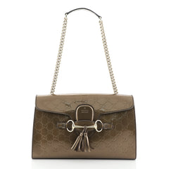 Gucci Emily Chain Flap Bag Microguccissima Patent Medium