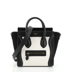 Celine Bicolor Luggage Handbag Grainy Leather Nano