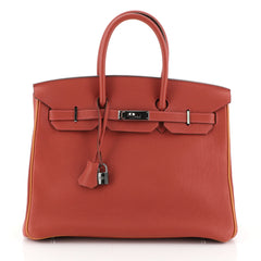 Hermes Birkin Handbag Bicolor Togo with Palladium Hardware 35