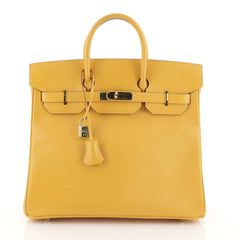 Hermes HAC Birkin Bag Yellow Courchevel with Gold Hardware 32
