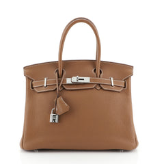 Hermes Birkin Handbag Brown Clemence with Palladium Hardware 30