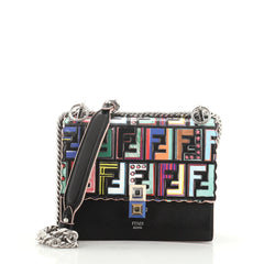 Fendi Kan I Bag Leather with Zucca Embossed Patent Small