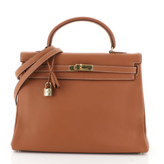 Hermes Kelly Handbag Brown Clemence with Gold Hardware 35