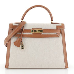 Hermes Kelly Handbag Toile and and Brown Courchevel with Gold Hardware 32