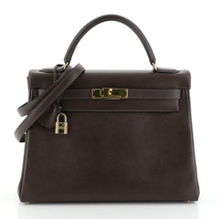 Hermes Kelly Handbag Brown Courchevel with Gold Hardware 32