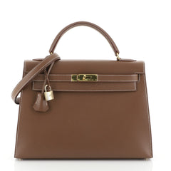 Hermes Kelly Handbag Brown Evergrain with Gold Hardware 32