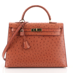 Hermes Kelly Handbag Orange Ostrich with Gold Hardware 35