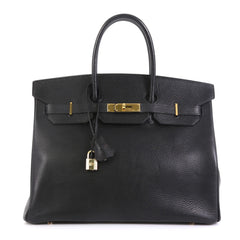 Hermes Birkin Handbag Black Ardennes with Gold Hardware 35