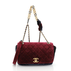 Chanel Private Affair Camellia Flap Bag Quilted Velvet Medium