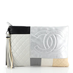 O Case Clutch Colorblock Quilted Leather Large