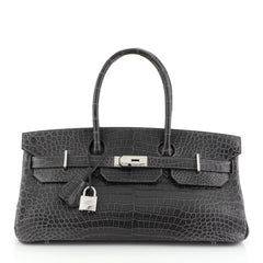 Hermes Birkin JPG Handbag Grey Porosus Crocodile with Palladium Hardware 42