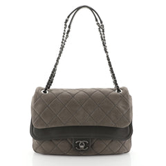Chanel In The Mix Double Flap Bag Quilted Iridescent Calfskin Jumbo
