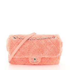 Chanel By The Sea Flap Bag Quilted Faux Fur Medium
