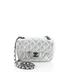 Chanel Punch Flap Bag Quilted Perforated Leather Small