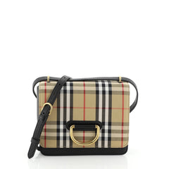 Burberry D-Ring Shoulder Bag Vintage Check Canvas Small