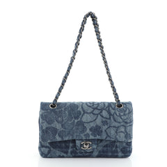 Chanel Camellia Classic Double Flap Bag Quilted Printed Denim Medium