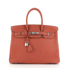 Birkin Handbag Sanguine Fjord with Palladium Hardware 35