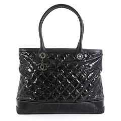 Chanel CC Charm Shopping Tote Quilted Vinyl Large