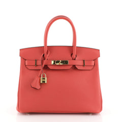 Hermes Birkin Handbag Red Epsom with Gold Hardware 30