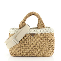 Prada Convertible Open Tote Woven Raffia Small