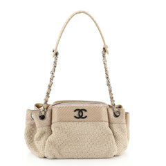 Chanel CC Accordion Chain Tote Straw with Python Small
