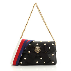 Gucci Animalier Broadway Bow Flap Bag Embellished Leather Mini