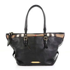 Burberry Bridle Salisbury Tote Leather and House Check Canvas Small