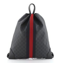 Gucci Web Drawstring Backpack GG Coated Canvas Large