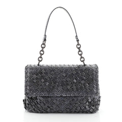 Bottega Veneta Olimpia Shoulder Bag Tobu Intrecciato Snakeskin Small