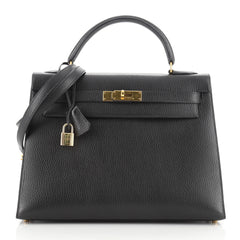 Hermes Kelly Handbag Black Ardennes with Gold Hardware 32
