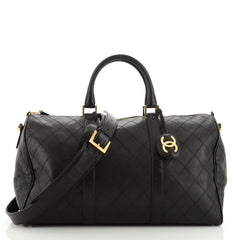 Chanel Vintage Diamond Stitch Boston Bag Quilted Lambskin Large