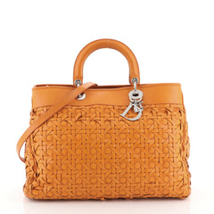 Lady Dior Avenue Bag Woven Leather Large