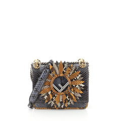 Fendi Kan I F Shoulder Bag Embellished Python Small