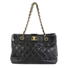 Chanel Soft Elegance Tote Quilted Distressed Calfskin Medium