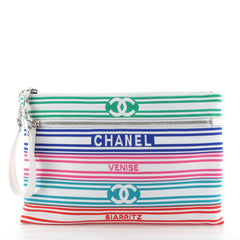Chanel Venise Biarritz Zip Pouch Striped Canvas Large