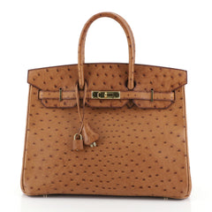 Hermes Birkin Handbag Brown Ostrich with Gold Hardware 35