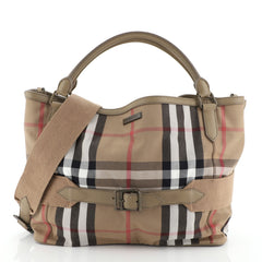 Burberry Brecon Convertible Tote House Check Canvas