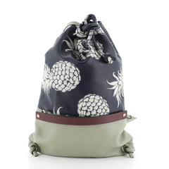 Drawstring Backpack Printed Leather Large