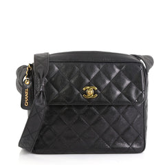 Chanel Vintage Front Pocket Camera Shoulder Bag Quilted Caviar Medium