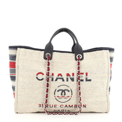 Chanel Deauville Tote Canvas with Striped Detail Large