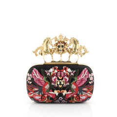 Alexander McQueen Unicorn Skull Knuckle Box Clutch Embroidered Mesh Small