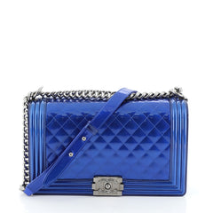 Chanel Boy Flap Bag Quilted Patent New Medium